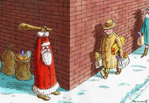Kalėdų Senis ruošiasi dovanas